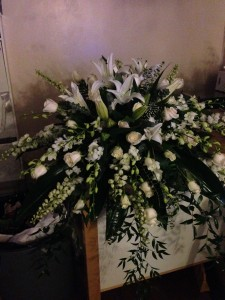 ALL WHITE CASCKET SPRAY FUNERAL in Ottawa, ON | MILLE FIORE FLOWERS