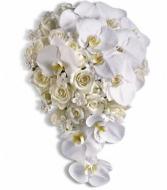 All White Cascade bouquet