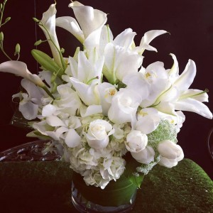 All white compact  floral vase bouquet