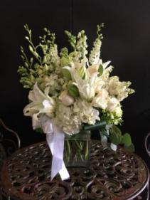 All white contemporary  new baby floral bouquet