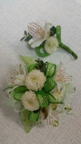 All White Corsage and Boutonniere
