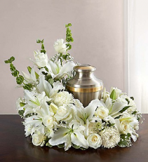 All White Cremation Wreath $175.95, $200.95, $225.95