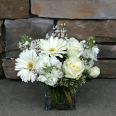 All White Cube Design Traditional Sympathy Vase