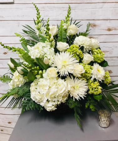All White Elegant Wicker Basket Basket Arrangement