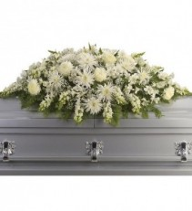 PEACEFUL WHITE  Half Casket Spray of shades of whites, fugi mums, shapdragons, cremons, roses and white filler in season
