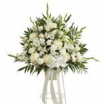 All White Funeral Basket On Stand