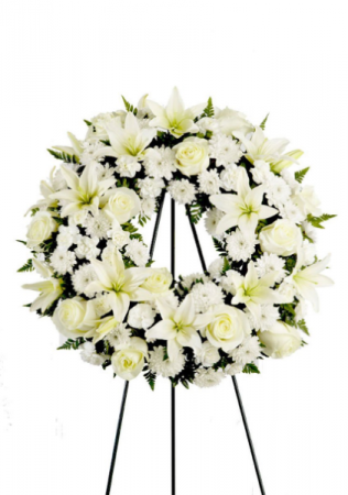 all white funeral wreat standing wreat