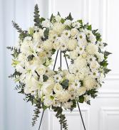 All White Funeral Wreath sympathy arrangements