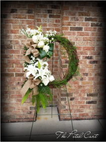 ALL WHITE GRAPEVINE WREATH STAND