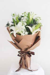 All White Hand tied bouquet