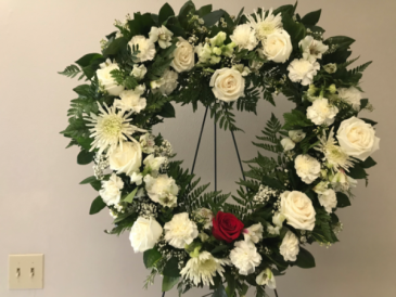 All White  Heart with Symbolism Standing Spray & Wreath