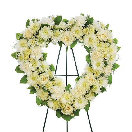 All white heart wreath Sympathy