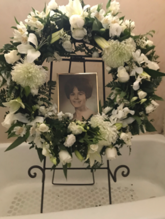All White Lily & Rose Funeral Ring Wreath and Stand
