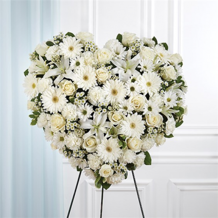 All White Mixed Flower Solid Standing Heart item #148739