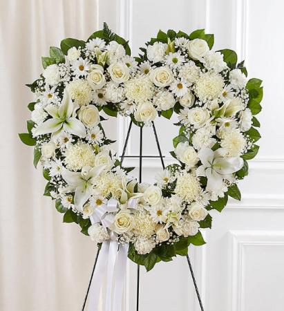 All White Open Heart Wreath
