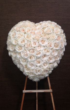 All white rose heart Elegant and classic pure heart  in Ozone Park, NY | Heavenly Florist