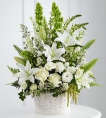 ALL WHITE SPLENDOR BASKET , ROSES,LILIES, SNAPS. LARKSPUR