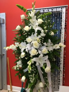ALL WHITE STANDING SPRAY Funeral Flowers