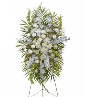ALL WHITE STANDING SPRAY  Funeral Flowers in Solana Beach, CA | DEL MAR FLOWER CO