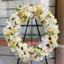 white & peach sympathy wreath