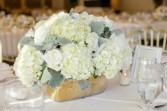 All white table arrangement  Wedding centerpiece