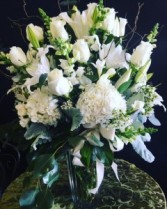 All white tall floral bouquet with premium flowers