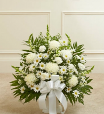 All White Traditional Funeral Basket