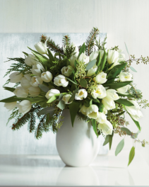 all white vase & winter tulips centerpiece