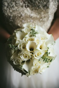 All white with anemones Bridal bouquet
