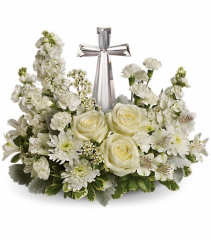 all white with crystal cross sympathy