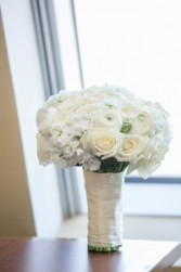 All white with garden roses Bridal bouquet