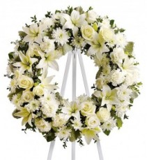 All White Wreath Funeral