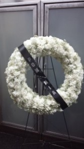 All White Wreath Standing Spray