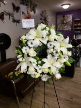 All white wreath  Standing wreath