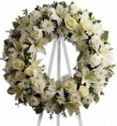All white wreath Wreaths and open Hearts Starting at $140.00