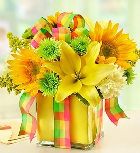 All Wrapped Up - Yellow Cube Arrangement in Gladewater, TX | GLADEWATER FLOWERS & MORE