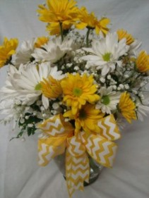 """MAKE YOUR DAY BOUQUET"" White and Yellow daisies  with filler arranged in a vase with a bow. Long Lasting Flowers!"