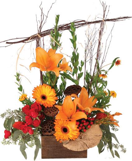 Alluring Amber Lilies Flower Arrangement