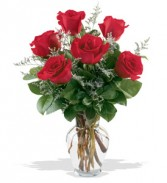 6 RED ROSE VASE