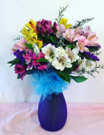 Alstroemeria Medley Purple Glass Vase