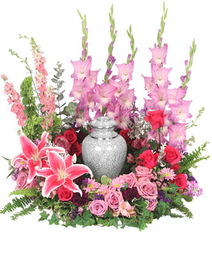 Always In Our Hearts Urn Cremation Flowers (urn not included) in Solana Beach, CA | DEL MAR FLOWER CO