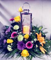 Silver LED Lantern Floral Design SEE SELECTION OF LANTERNS UNDER MEMORIALS