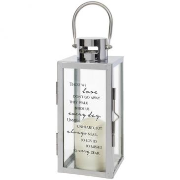 """""""Always Near"""" Silver LED Lantern"""