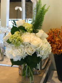 Always Perfect White & Green Hydrangeas WIth Roses