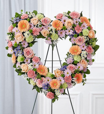 Always Remember™ Floral Heart Tribute- Pastel Funeral / Sympathy