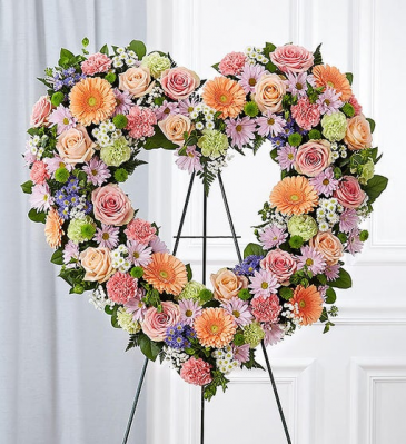 Always Remember Floral Heart Tribute - Pastel Standing Sprays & Wreaths