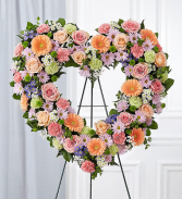 Always Remember™ Floral Heart Tribute- Pastel Standing Spray