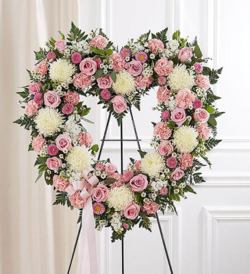 Always Remember Floral Heart Tribute - Pink & Whi