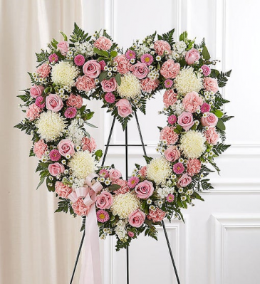 Always Remember Floral Heart Tribute - Pink & Whit Standing Sprays & Wreaths