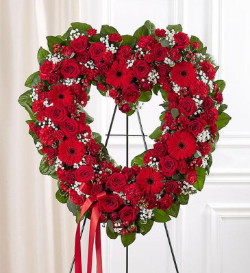 Always Remember™ Floral Heart Tribute- Red Funeral / Sympathy